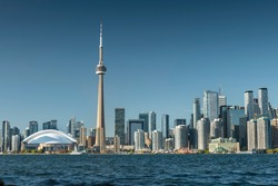 Downtown Toronto Canada cityscape skyline view over Lake Ontario