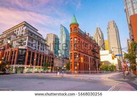 Downtown Toronto city Skyline at  twilight in Ontario, Canada