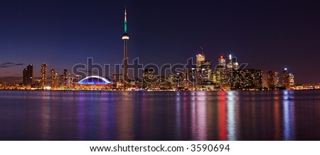 Downtown Toronto during pride week, from central island