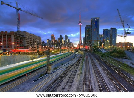 Downtown Toronto from the bridge in HDR