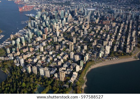 Downtown Vancouver City viewed from an aerial perspective. Picture taken in British Columbia, Canada, during a sunny day.