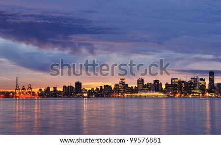 Downtown Vancouver Stormy Winter Sunset, British Columbia