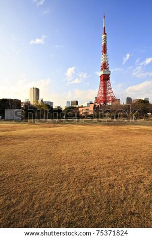 Downtown view with Tokyo Tower - located in Shiba Park, Minato, Tokyo, Japan