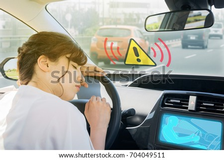 doze prevention apparatus. driver assistance system. car interior and driver.