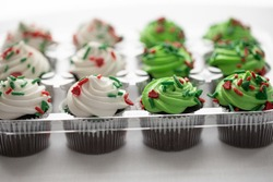 Dozen chocolate cupcakes with green and white icing and sprinkles