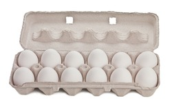 Dozen eggs in cardboard container isolated on white