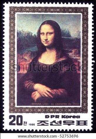 DPR KOREA - CIRCA 1986: A stamp printed in DPR Korea (North Korea) shows Monna Lisa by Leonardo da Vinci, circa 1986