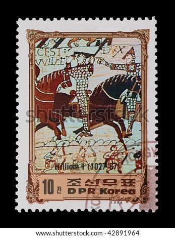 DPR KOREA - CIRCA 1984: mail stamp featuring the 1066 Battle of Hastings, circa 1984