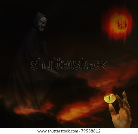 Dr Death the Grim Reaper in his domain of the Underworld of doom death and madness with room for your text.