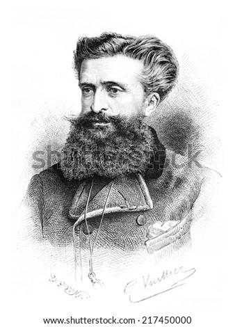 Dr. Gustave le Bon, drawing by G. Vuillier, from a photograph by Dr. Gustave le Bon himself, vintage engraved illustration. Le Tour du Monde, Travel Journal, 1881 Photo stock ©