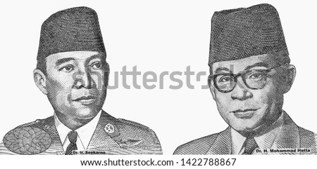Dr. Lr.  Sukarno Former and Dr. H. Mohammad Hatta, Portrait from indonesia 100000 Rupiah 2009 Banknotes. An Old paper banknote, vintage retro. Famous ancient Banknotes. Collection.