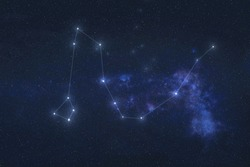 Draco Constellation night stars in outer space. Dragon constellation lines. Elements of this image were furnished by NASA