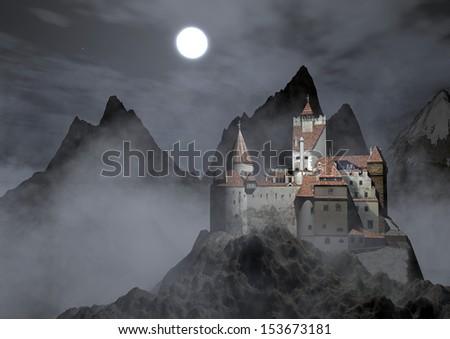 Dracula\'s castle. Dracula\'s castle on top of a mountain on a foggy night