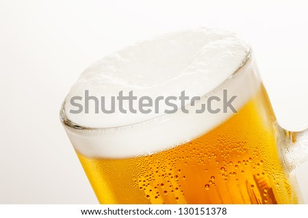 Draft beer on a white background
