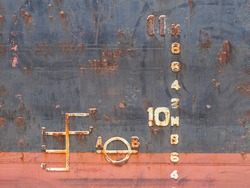Draft mark and load line mark of a cargo ship out bulk carrier.