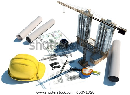 Draft of building on a table