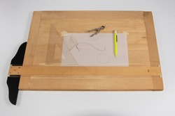 Drafting Board and 1900s various Tools -  French Curve Drawing o