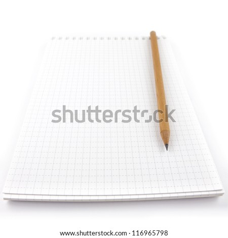 drafting paper or graph paper of notebook with pencil