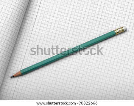 Drafting paper or graph paper with pencil
