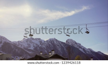 Drag lift. mountain lift background, cable car. Lifts on the background of mountains.
