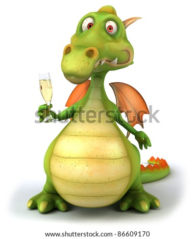Dragon and champagne
