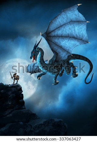 Stock Photo Dragon and man first meet