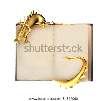 Dragon and old book. Object isolated over white
