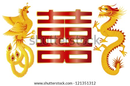 Dragon and Phoenix Symbols for Chinese Wedding with Double Happiness Text Calligraphy Illustration Raster