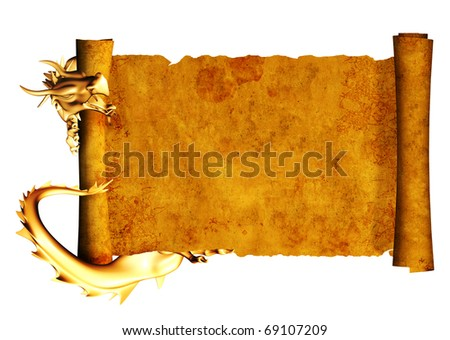 Dragon and scroll of old parchment. Object isolated over white