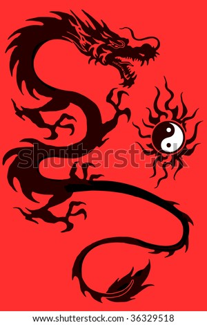 stock photo : Dragon and yin yang symbol vector illustration isolated on red