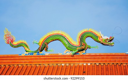 Stock Photo: Dragon -art of Chinese temple roof