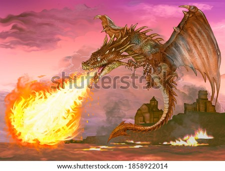 Dragon blowing out fire illustration Stock photo ©