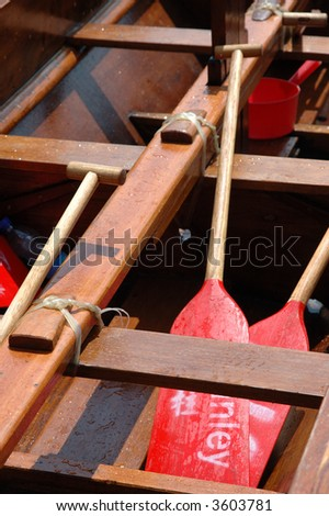 Dragon boat interior with paddlers inside