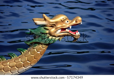 Dragon boat on a river