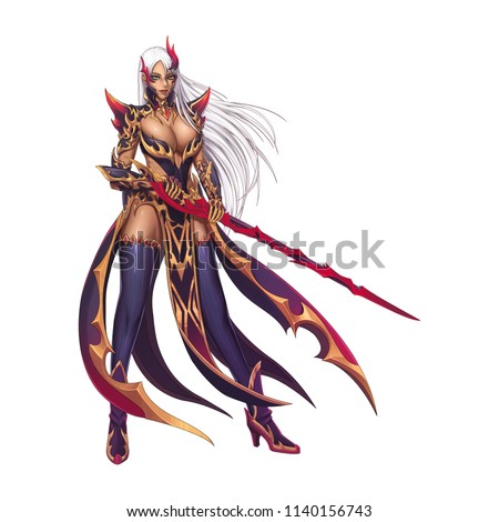Stock Photo Dragon Fighter, Knight Girl with Anime and Cartoon Style isolated on White Background. Video Game's Digital CG Artwork, Concept Illustration, Realistic Cartoon Style Character Design