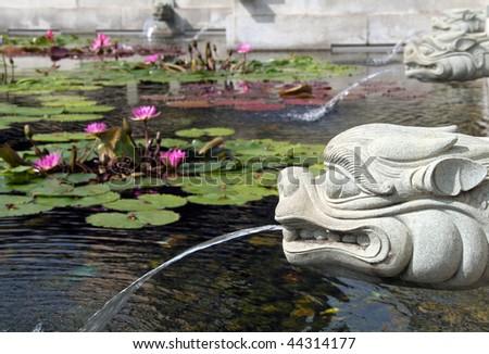 Dragon fountain and lotus pond