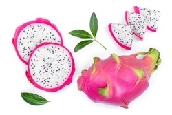 Dragon fruit, Pitaya or Pitahaya isolated on white background. Top view. Flat lay