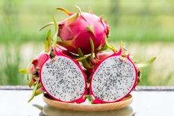 Dragon Fruit. Tropical Fruits,Healthy dragon fruits