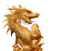 Dragon gold  statue  isolated on white