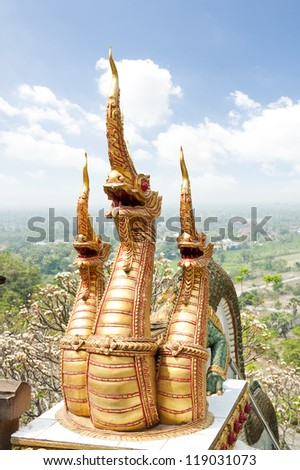 "Dragon 3 head at ""Wat Khao Bandai It"" temple. In Phetchaburi, Thailand."