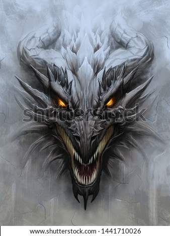 Dragon head on the gray stone background. Digital painting. Foto stock ©