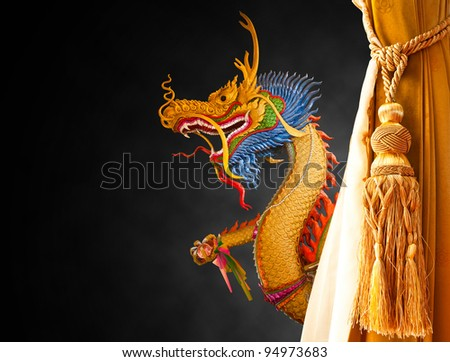 dragon on black background curtain