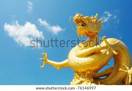 Dragon on blue sky thailand - stock photo