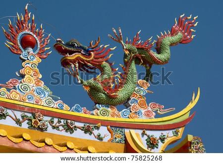 dragon on chinese temple, Tajnung Sepang, Malaysia