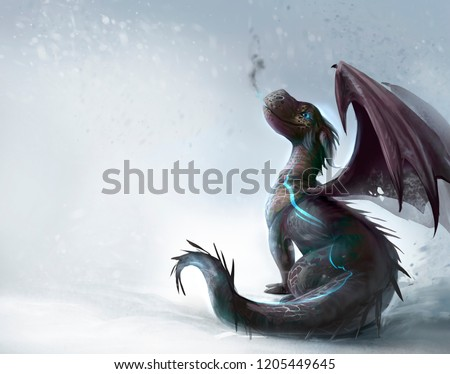 Dragon on the snow illustration