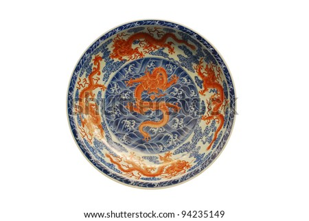 Dragon painted on plate