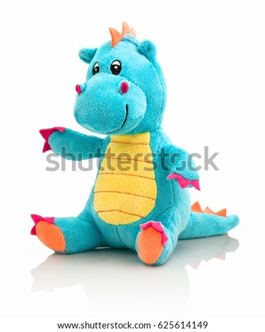 Dragon plushie doll isolated on white background with shadow reflection. Dragon plush stuffed puppet on white backdrop. Dino plushie toy. Aqua color stuffed dinosaur toy. Lizard toy sitting on white