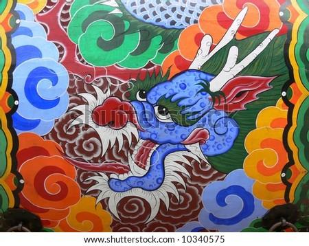 Dragon's head on the big traditional drum, South Korea