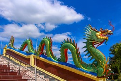 Dragon sculpture art architecture buddhist artwork spectacular temple in Thailand.