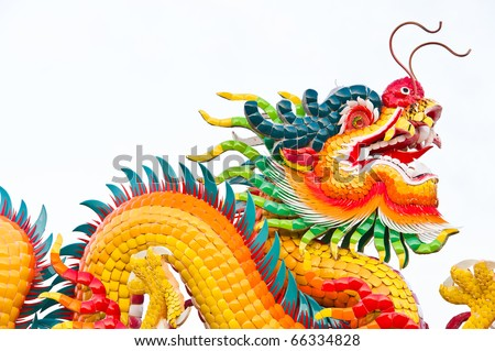 dragon sculpture at chinese temple